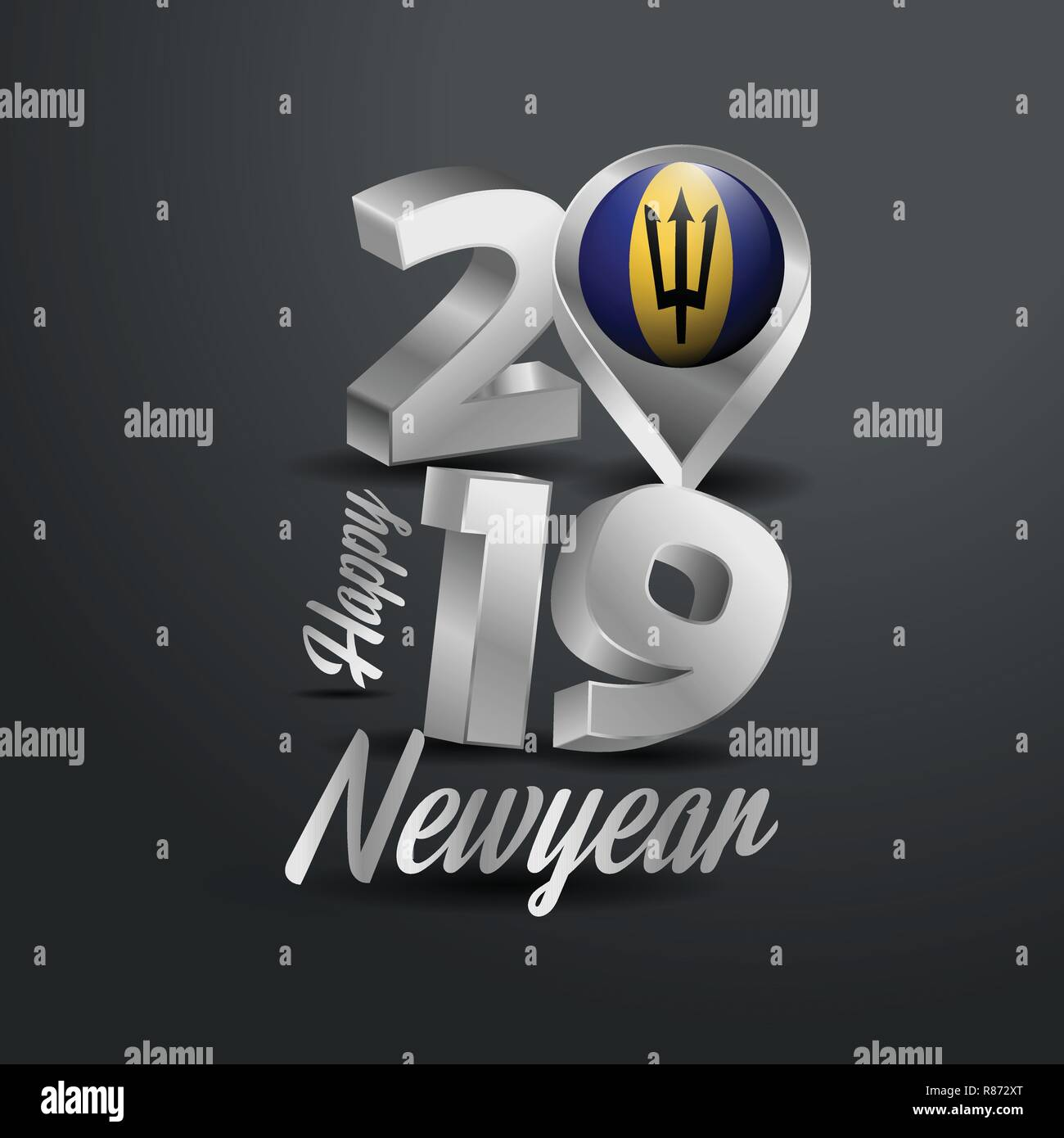 Happy New Year 2019 Grey Typography with Barbados Flag Location Pin. Country Flag  Design - Stock Vector
