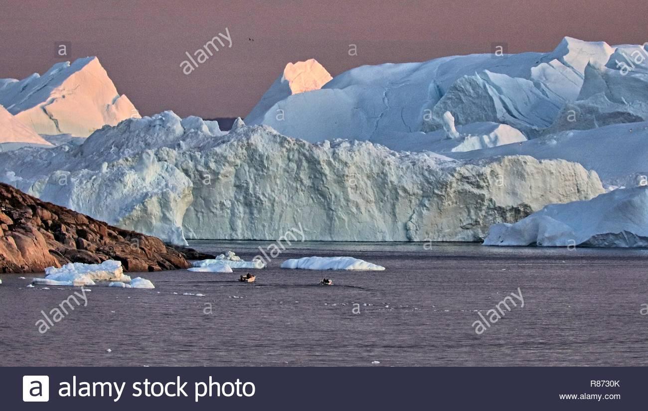 Ilulissat Eisberge am Abend - Stock Image