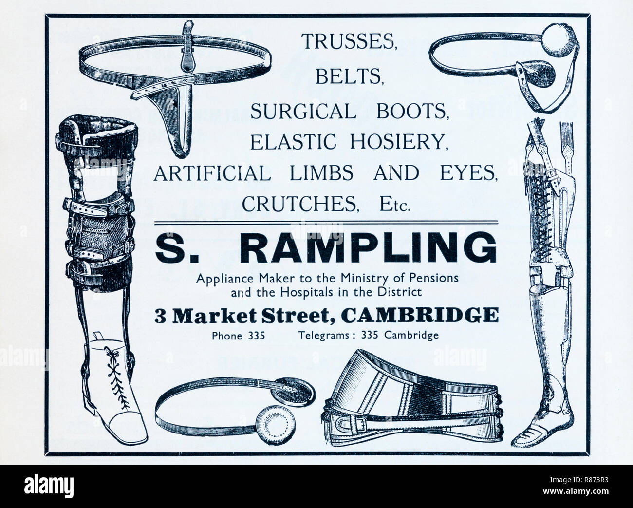 A 1930s advertisement for a maker of surgical appliances. - Stock Image