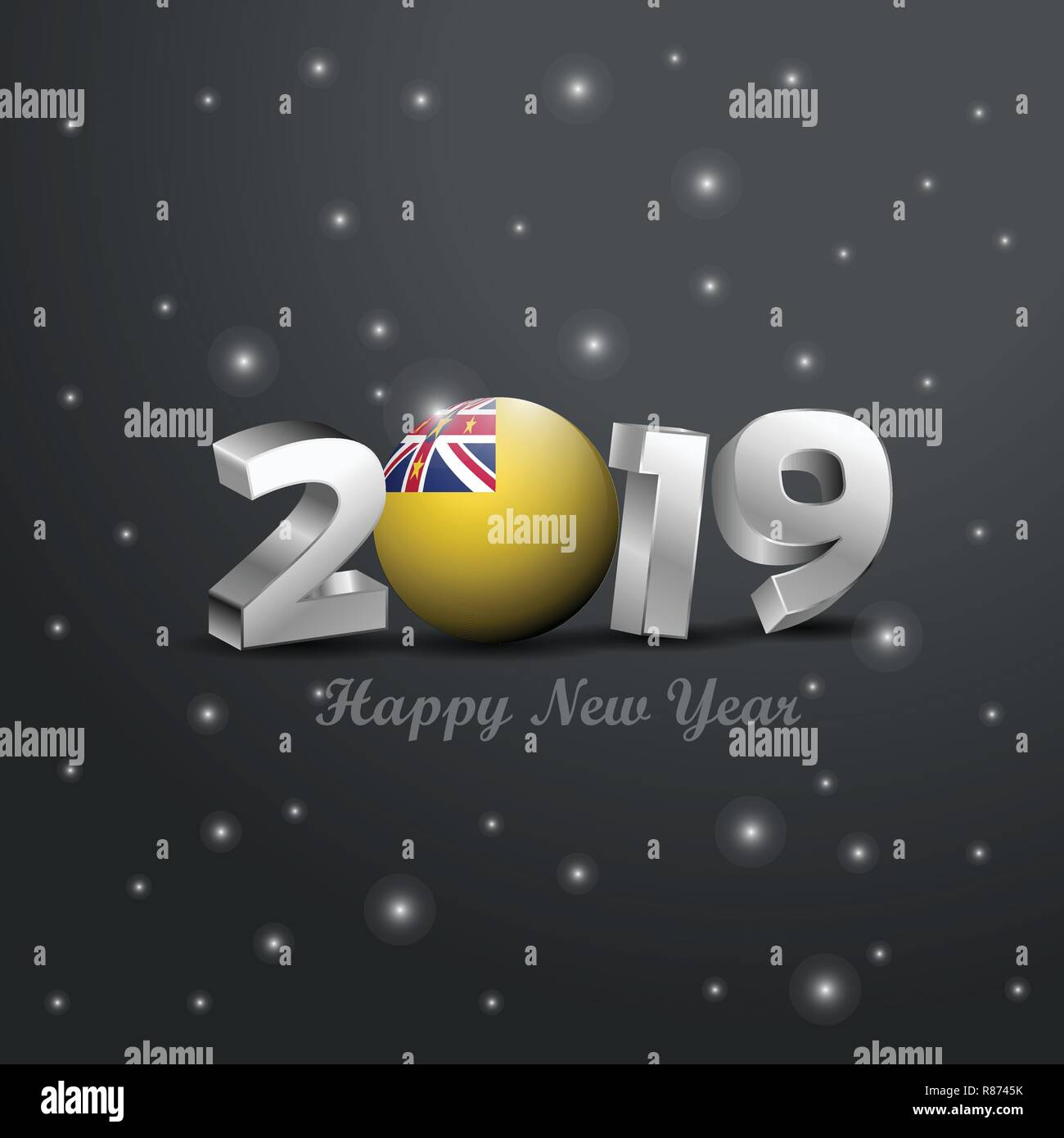 2019 Happy New Year Niue Flag Typography Abstract Celebration