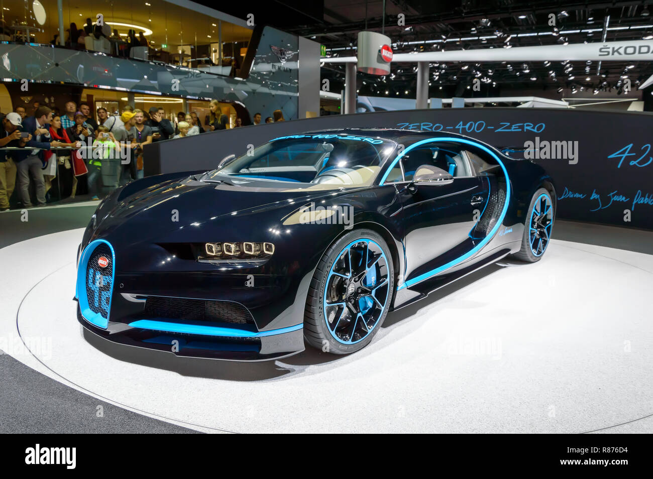 FRANKFURT - SEP 2017: Bugatti Chiron 0-400-0 at IAA Frankfurt Motor Show. Supercar set acceleration world record reaching 400 kmh in 42 seconds. - Stock Image