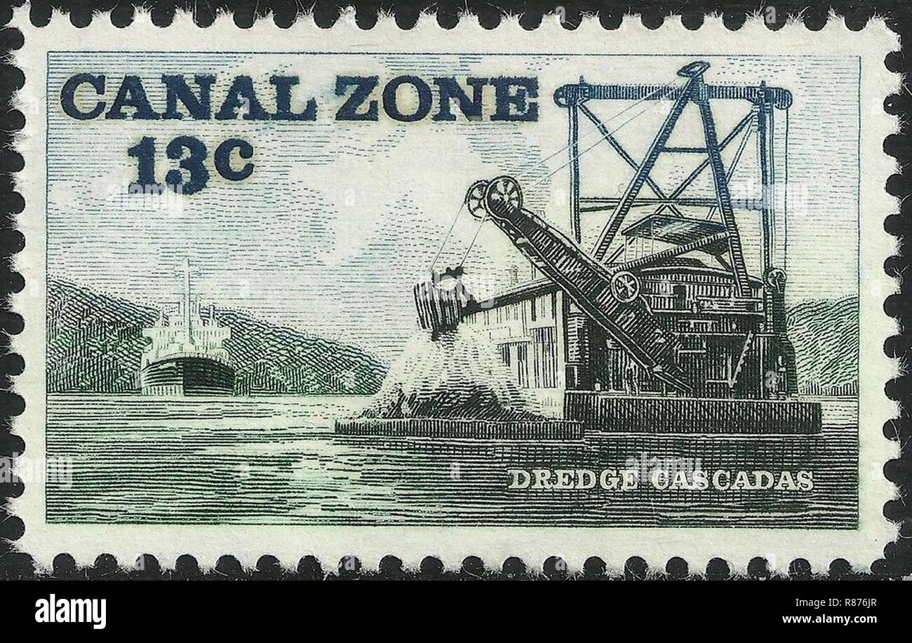 Canal Zone, Dredge cascades, 13c, 1976 Issue. - Stock Image