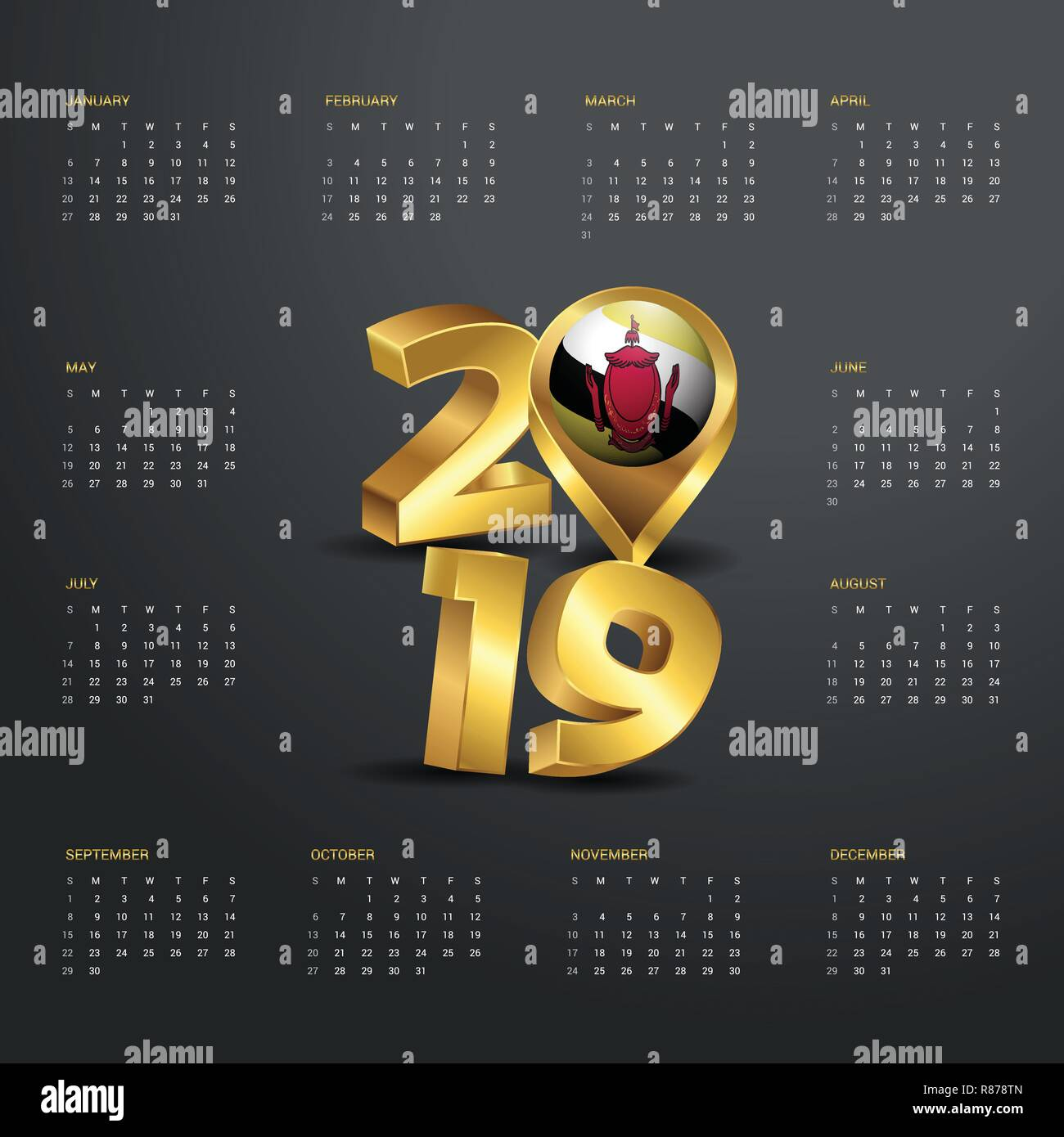 2019 Calendar Template  Golden Typography with Brunei