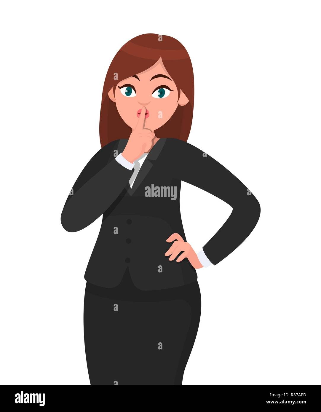 Businesswoman asking silence please. Keep quiet! Quiet please! Woman in formal black suit closed  her mouth with index finger. Shut up!  Businesswoman Stock Vector