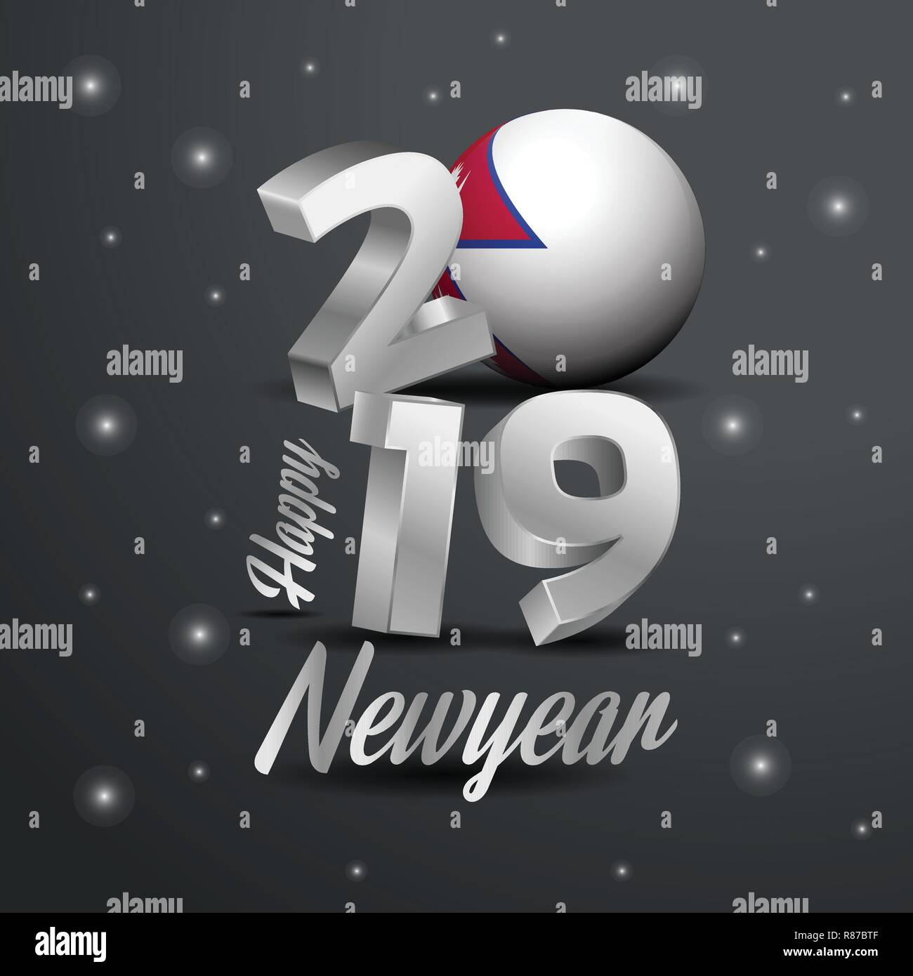 2019 Happy New Year Nepal Flag Typography Abstract Celebration