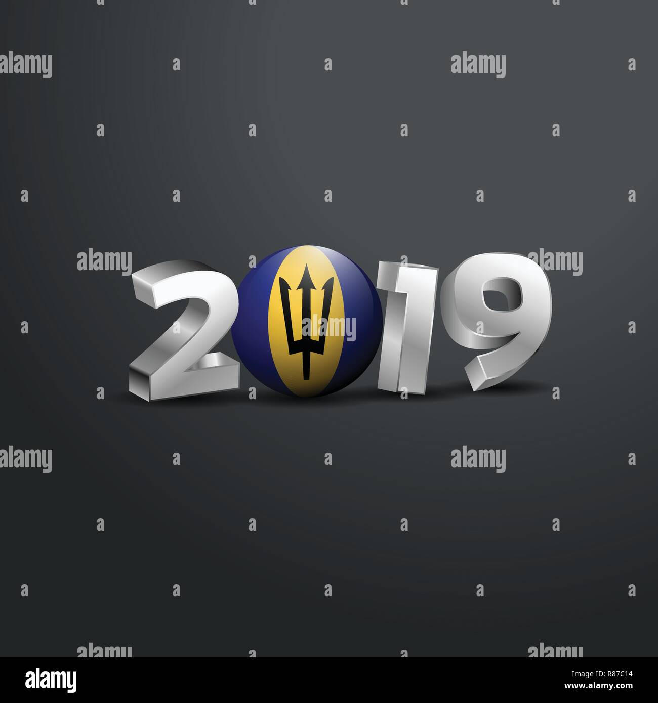 2019 Grey Typography with Barbados Flag. Happy New Year Lettering - Stock Vector