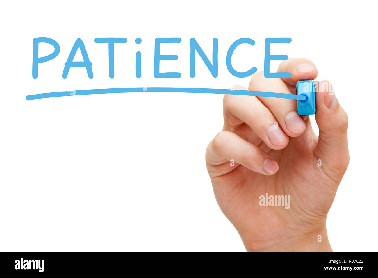 Hand writing word Patience with blue marker on transparent wipe board isolated on white. - Stock Image