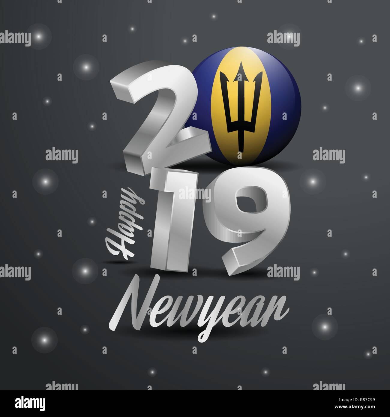 2019 Happy New Year Barbados Flag Typography. Abstract Celebration background - Stock Vector