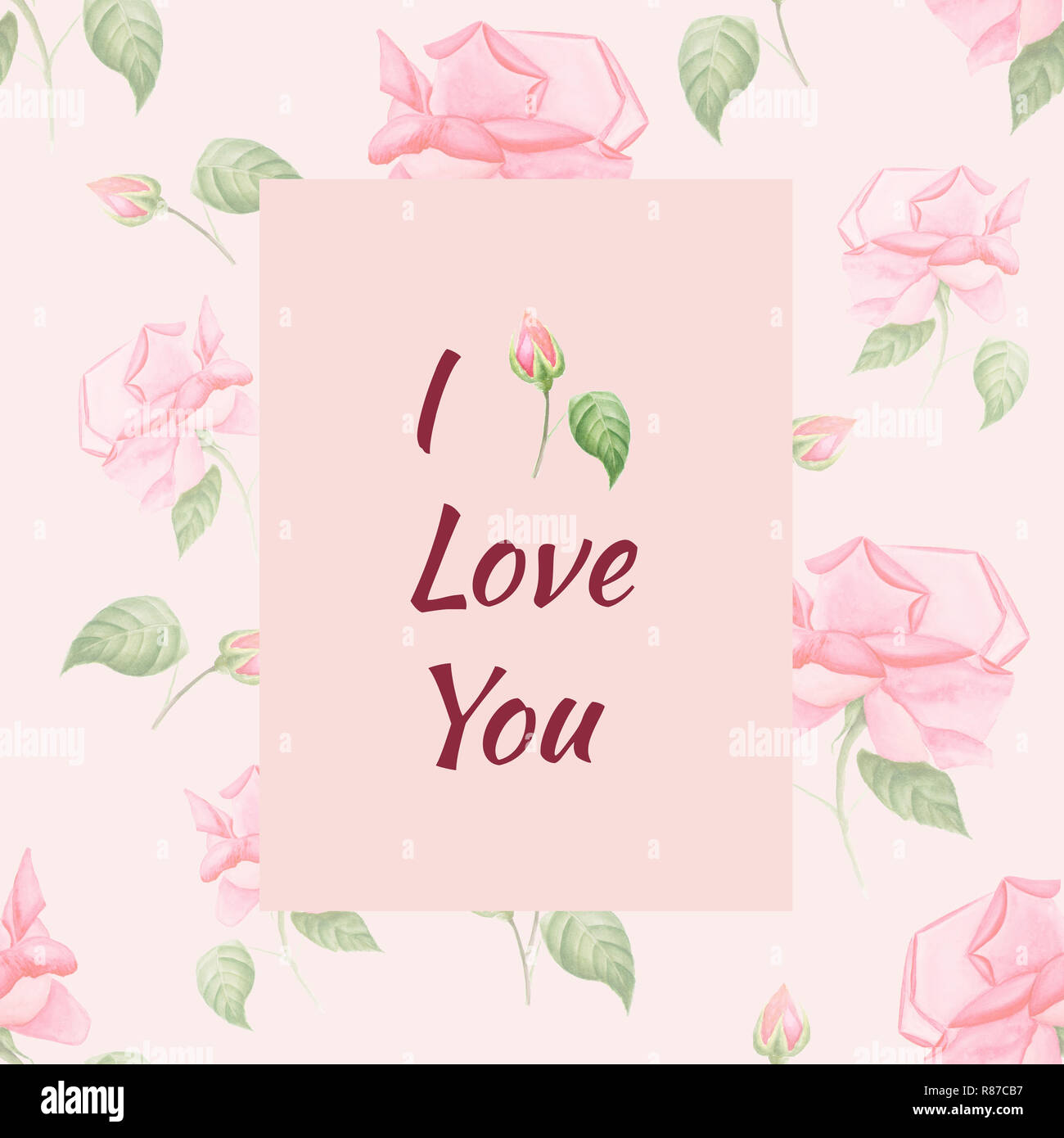 Handpainted Watercolor Greeting Card With Flower Pattern And Text I Love You In Vintage Style Roses On Pink Can Be Used For Birthday Invitation