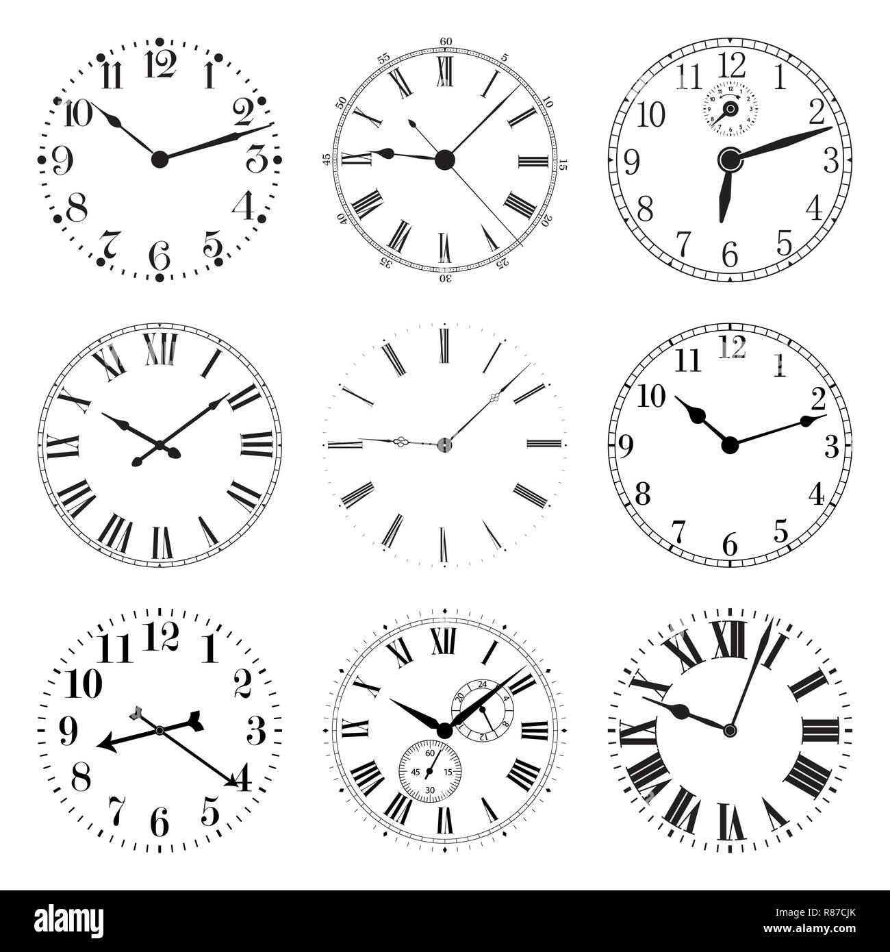 Set of Clocks. Vector illustration isolated on white background. - Stock Image