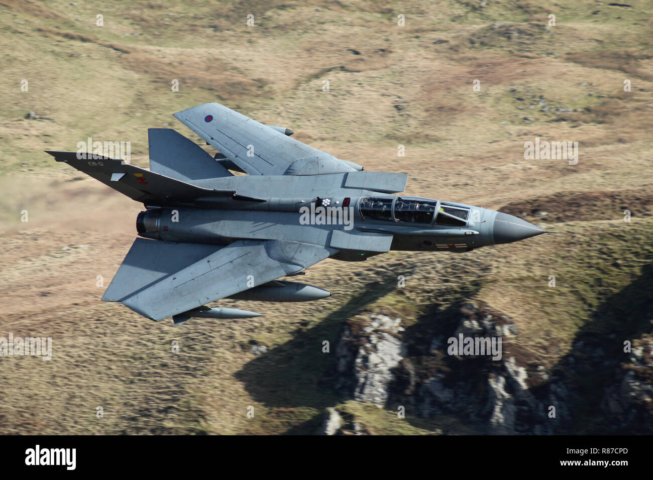 RAF Tornado GR4, of 41 Squadron, on a low level training flight in the mach loop area of Gwynedd, Wales, United Kingdom. - Stock Image