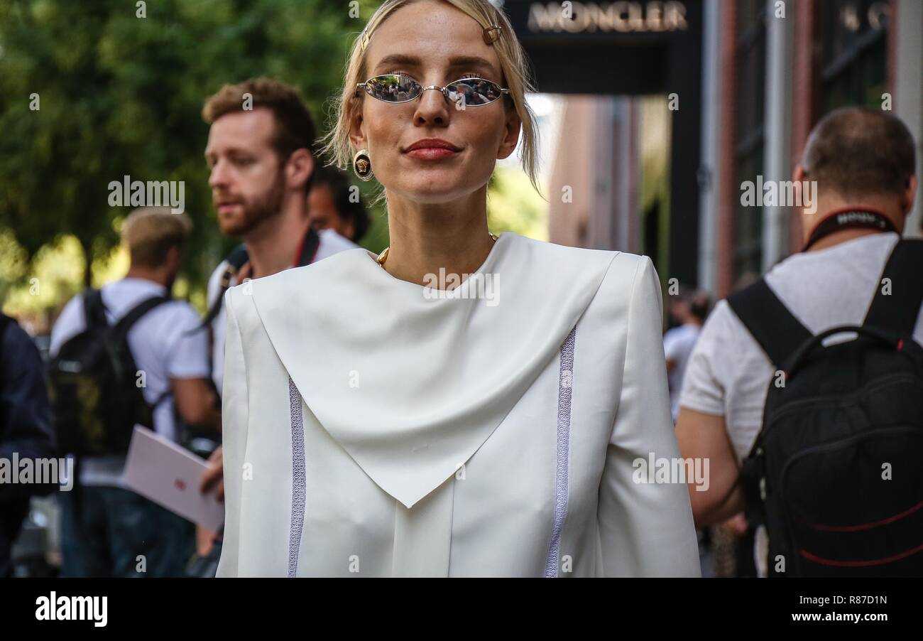 MILAN, Italy- September 20 2018: Leonie Sophie Hanne on the street during the Milan Fashion Week. - Stock Image