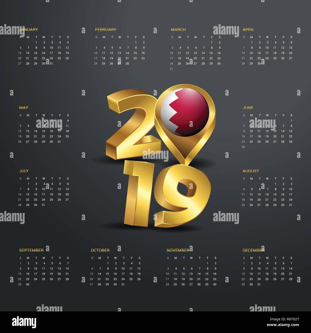 2019 Calendar Template Golden Typography With Bahrain Country Map