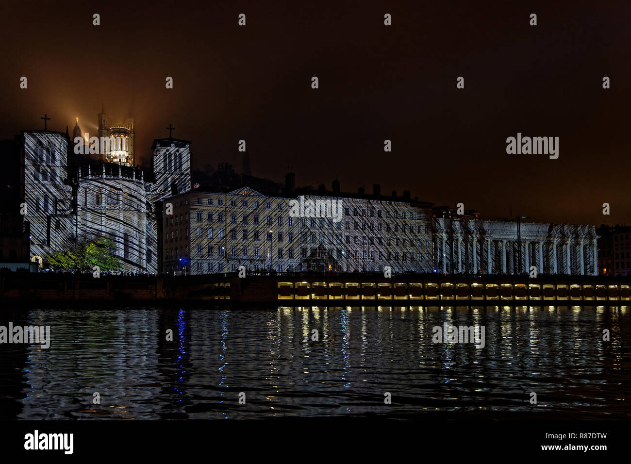LYON, FRANCE, December 6, 2018 : Cathedral during Festival of the lights. For 4 nights, different artists light up buildings, streets mixing splendor  - Stock Image