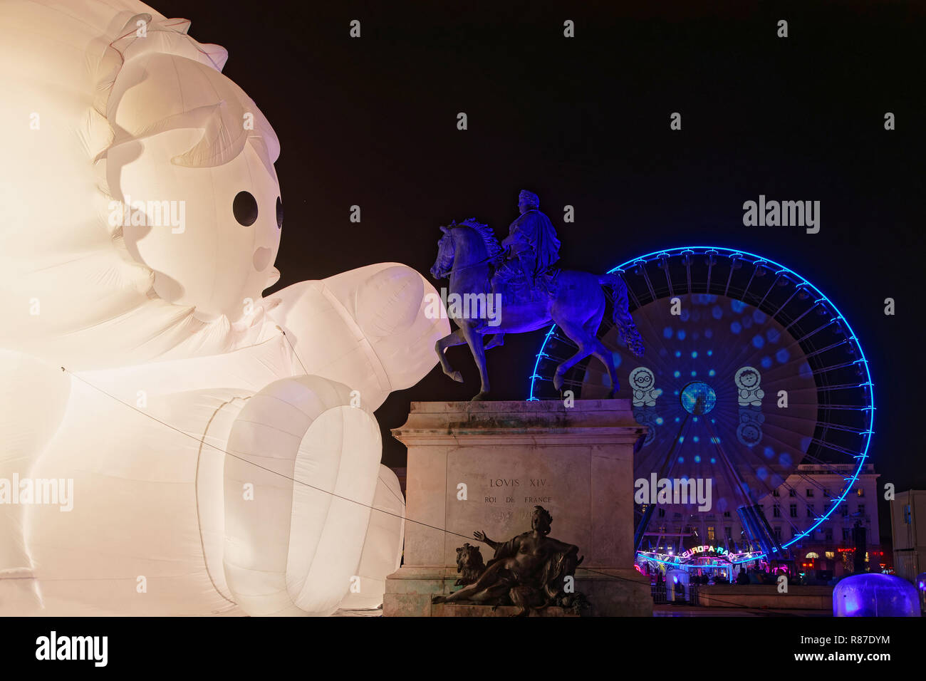 LYON, FRANCE, December 4, 2018 : Festival of the lights in Lyon. For 4 nights, different artists light up buildings, streets mixing poetry, splendor o - Stock Image