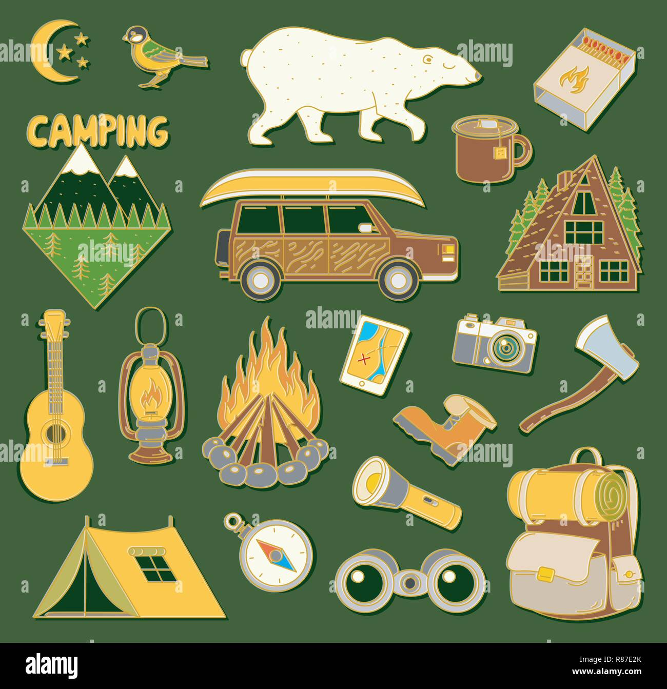 Set Of Cute Camping Elements Stickers Doodle Pins Patches