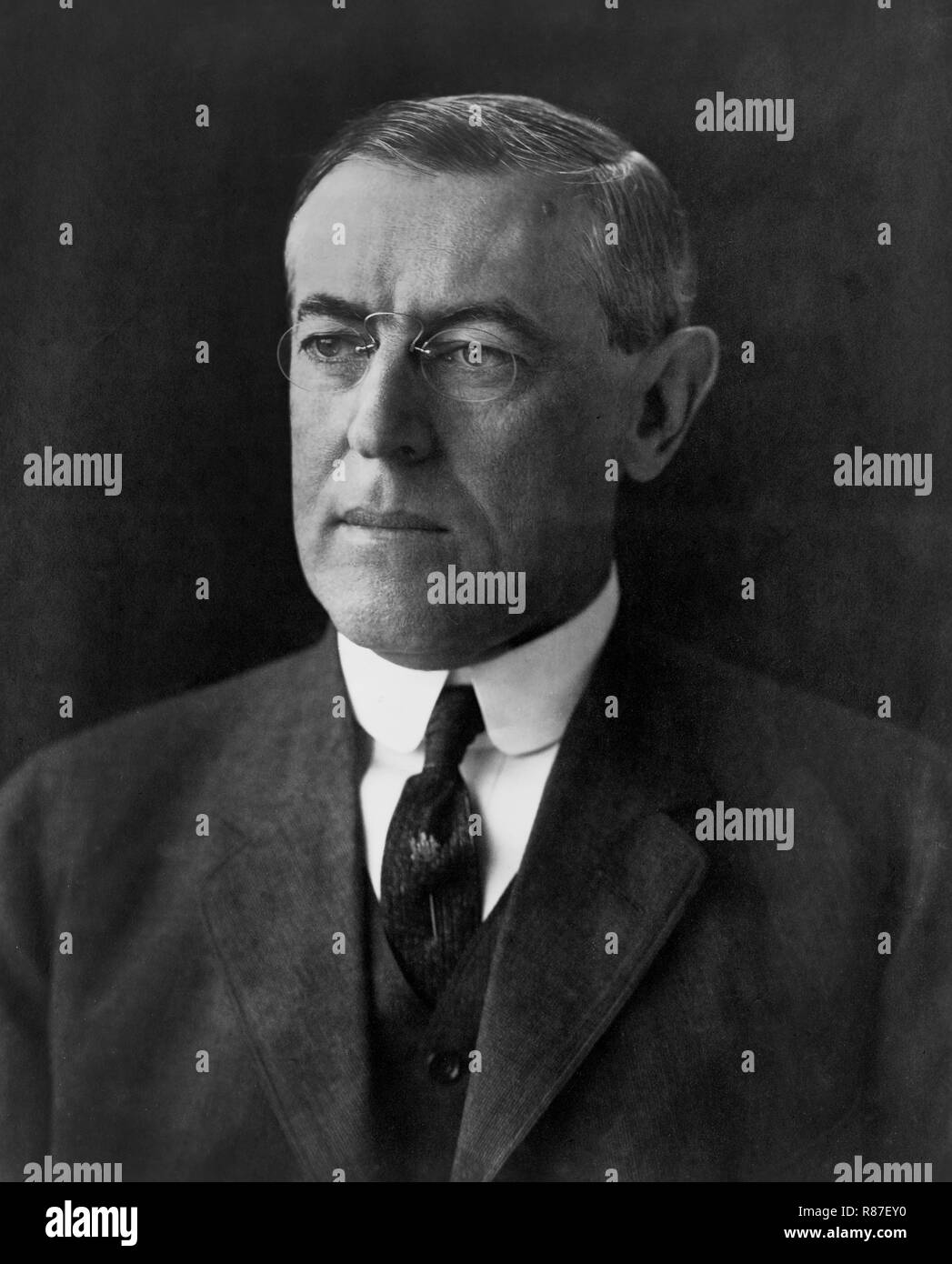 U.S. President-Elect Woodrow Wilson, Head and Shoulders Portrait, December 1912 - Stock Image