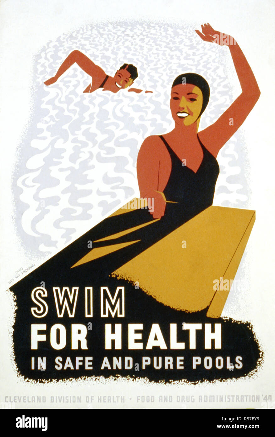 Work Projects Administration Poster Promoting Swimming as Healthy Exercise, 'Swim for Health in Safe and Pure Pools', Cleveland Division of Health, Food and Drug Administration, 1940 - Stock Image