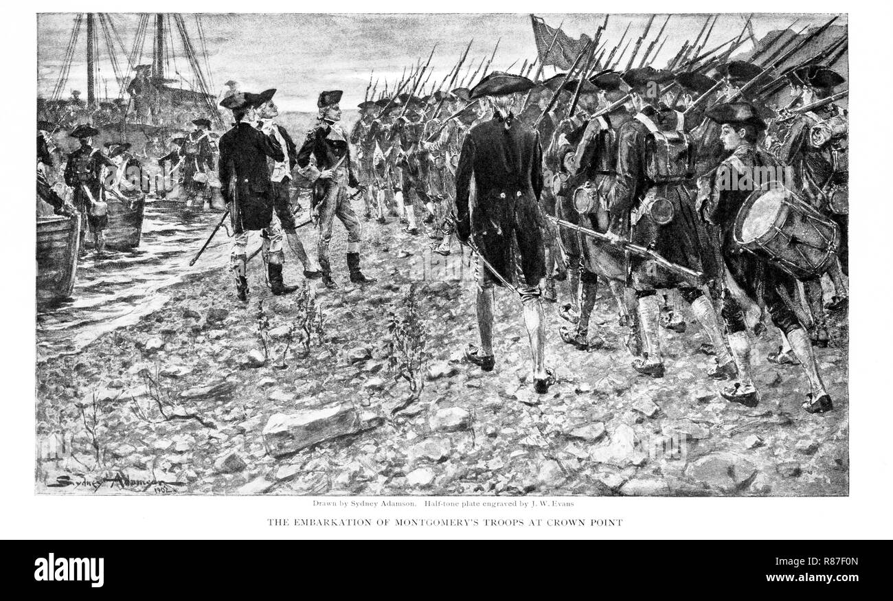 Richard Montgomery and Troops on Shore at Crown Point, New York, en Route for Invasion of Canada, 1775, 'The Embarkation of Montgomery's Troops at Crown Point', The Century Illustrated Monthly Magazine drawn by Sydney Adamason, Engraving by J. W. Evans, 1902 - Stock Image