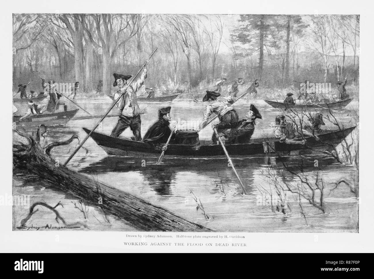 Troops, under Command of Benedict Arnold, at Skowhegan Falls, Maine en Rout to Invasion of Canada, 1775, 'Working Against the Flood on Dead River', The Century Illustrated Monthly Magazine drawn by Sydney Adamason, Engraving by H. Davidson, 1903 - Stock Image