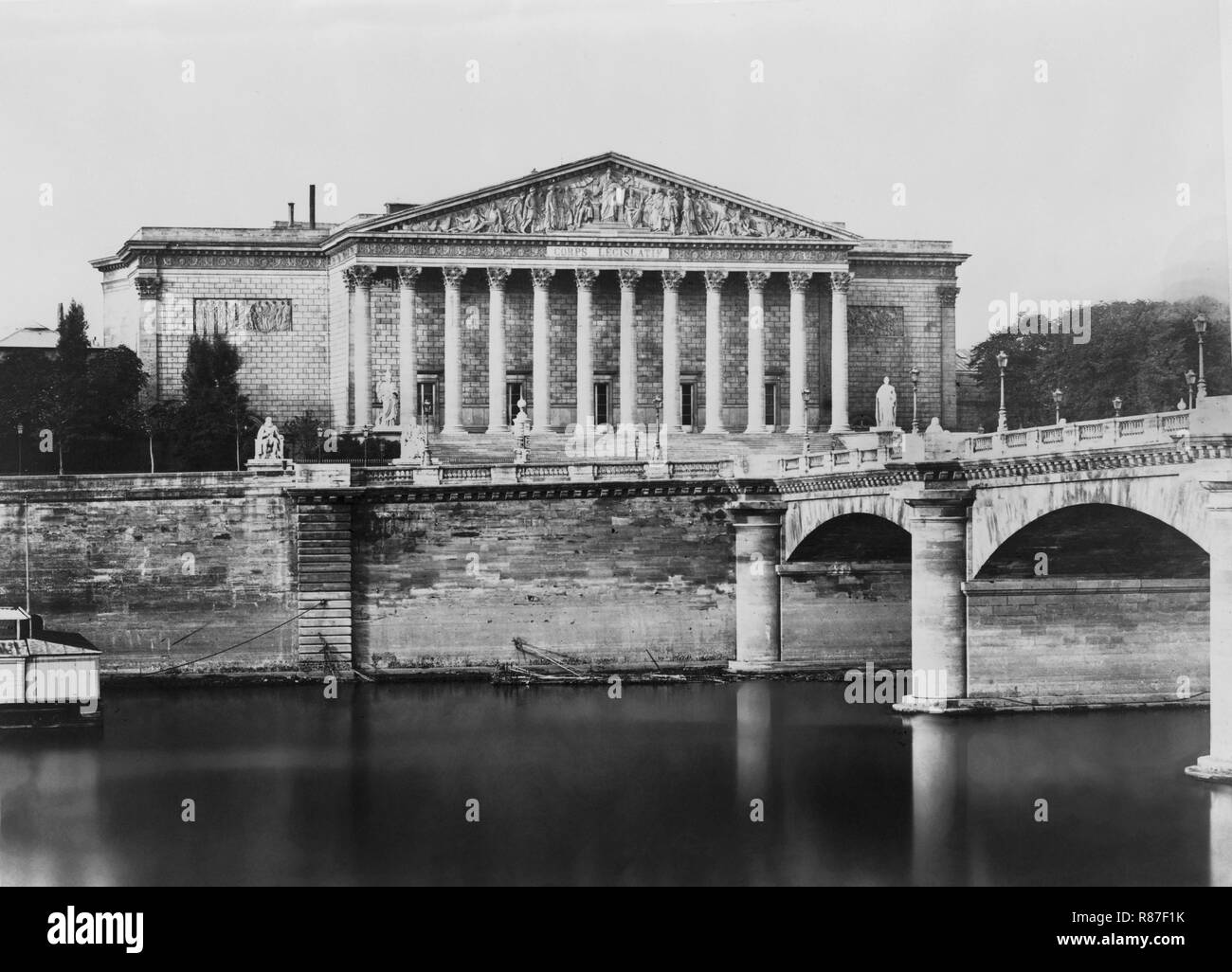 Corps Legislatif, Paris, France, Silver Albumen Print, Edouard Baldus, 1860's - Stock Image