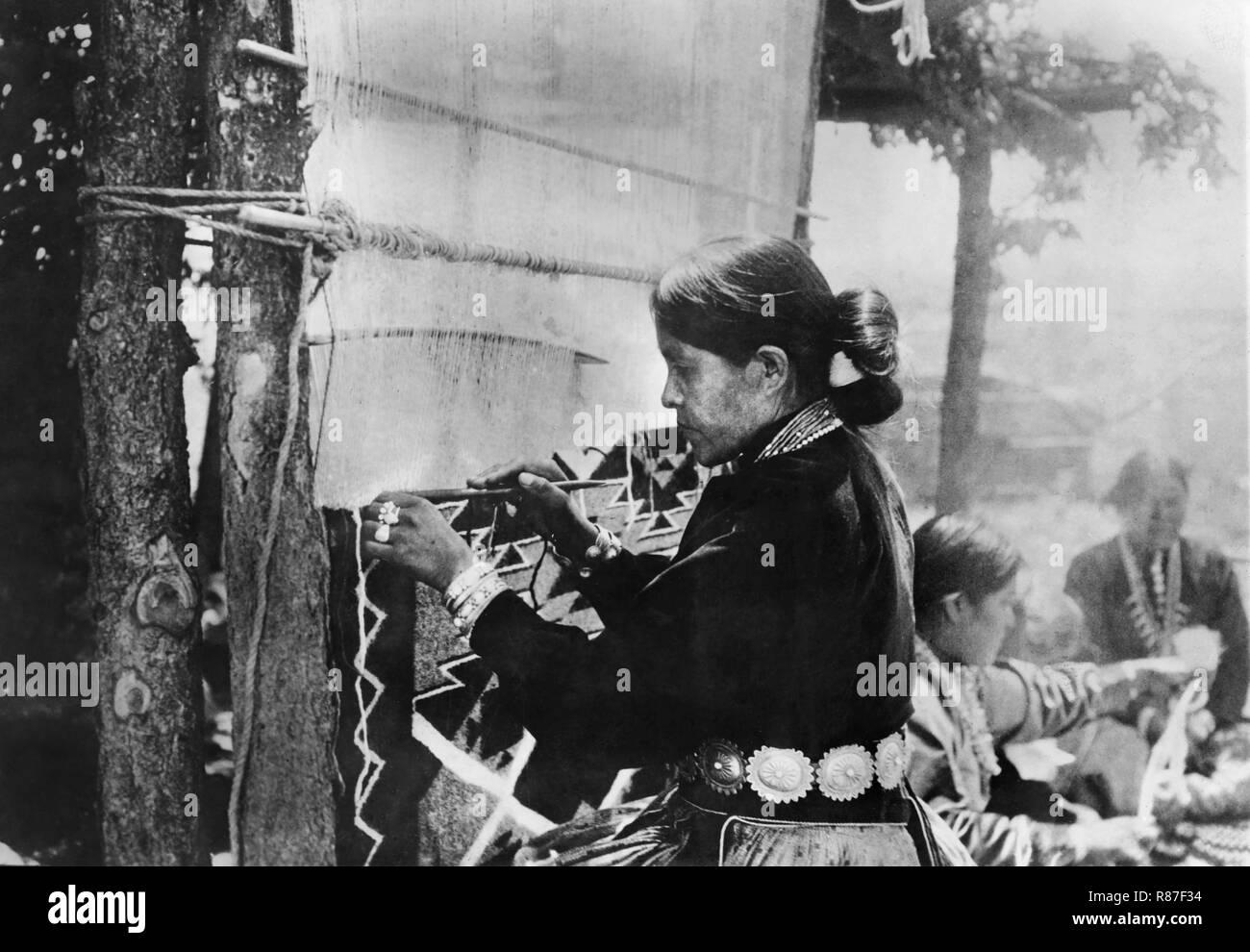 Navajo Women Weaving, National Photo Company, 1910 - Stock Image