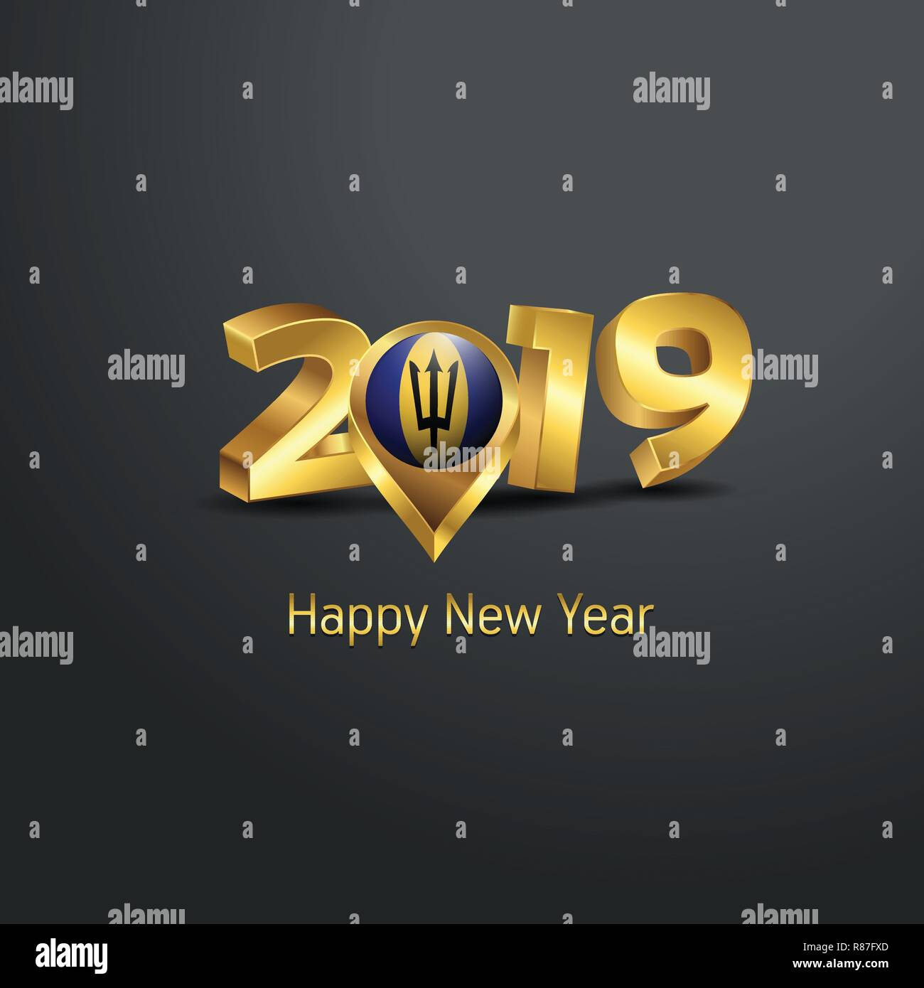 Happy New Year 2019 Golden Typography with Barbados Flag Location Pin. Country Flag  Design - Stock Vector