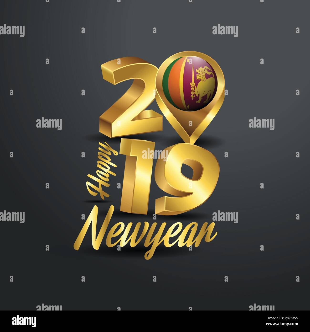 8c82bf53ff7 Happy New Year 2019 Golden Typography with Sri Lanka Flag Location Pin.  Country Flag Design