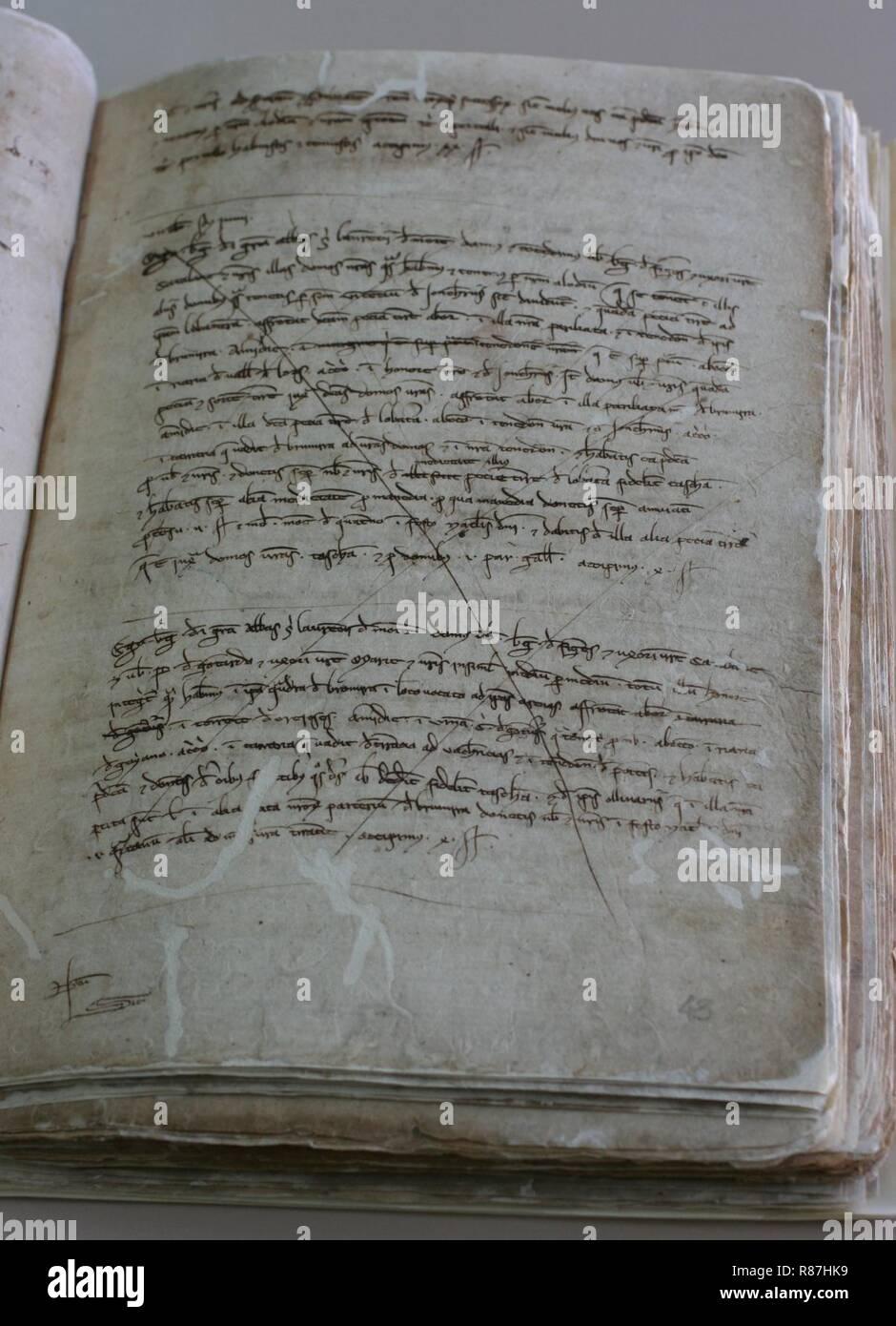 Capbreu bertran acolit 1237-1242f. 43r acvoc. - Stock Image