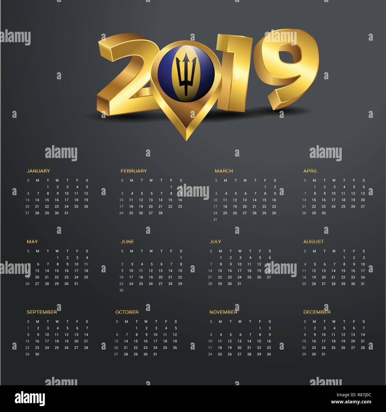 2019 Calendar Template. Barbados Country Map Golden Typography Header - Stock Vector