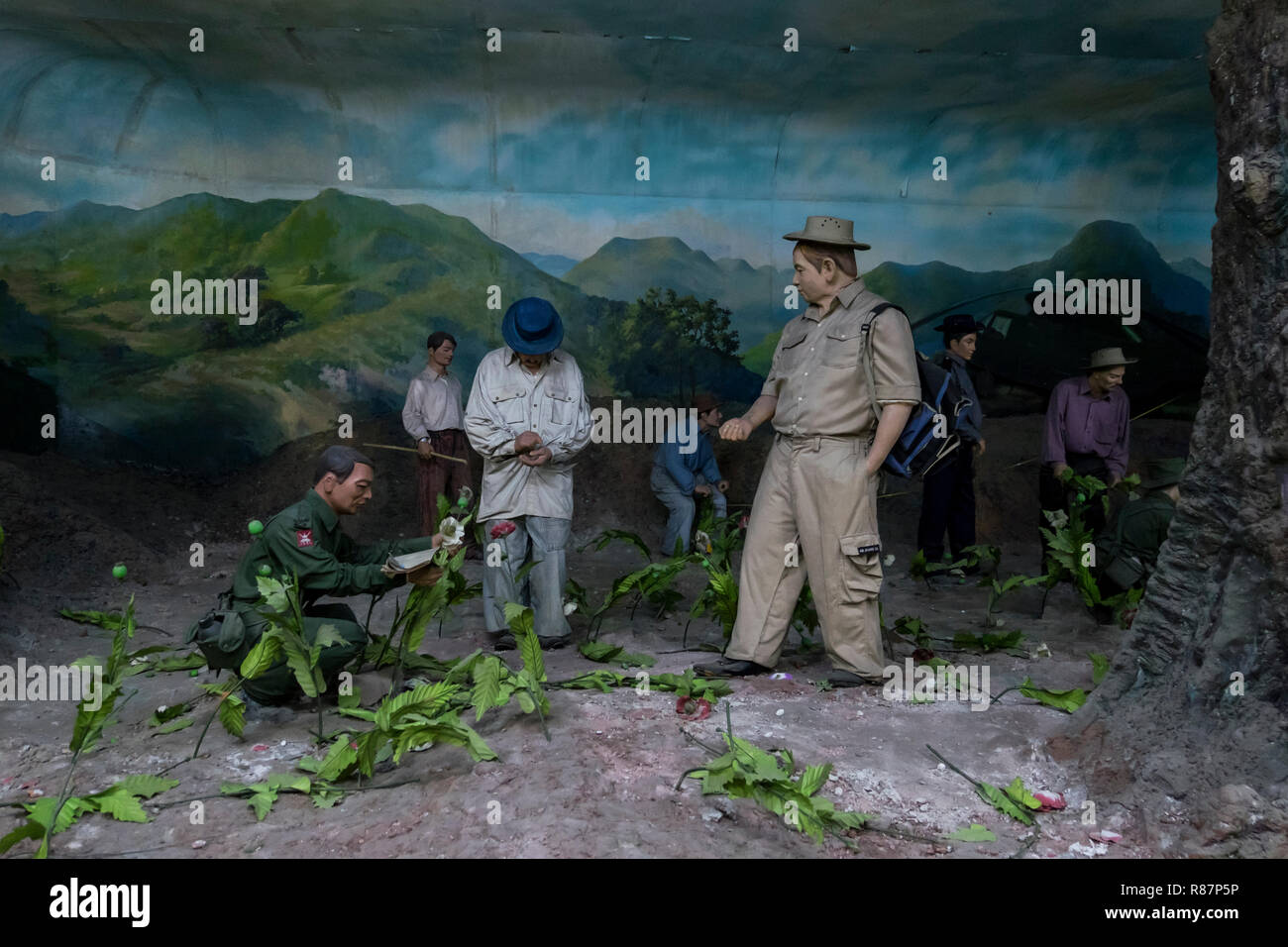 Diorama showing poppy destruction at the Drug Elimination Museum in Yangon, Myanmar. Stock Photo