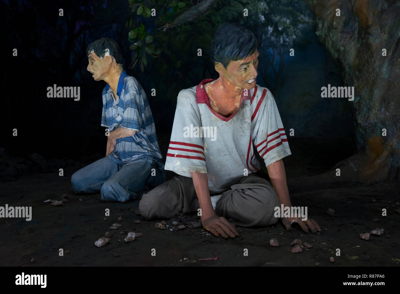 Diorama showing what drug addiction looks like at the Drug Elimination Museum in Yangon, Myanmar. Stock Photo