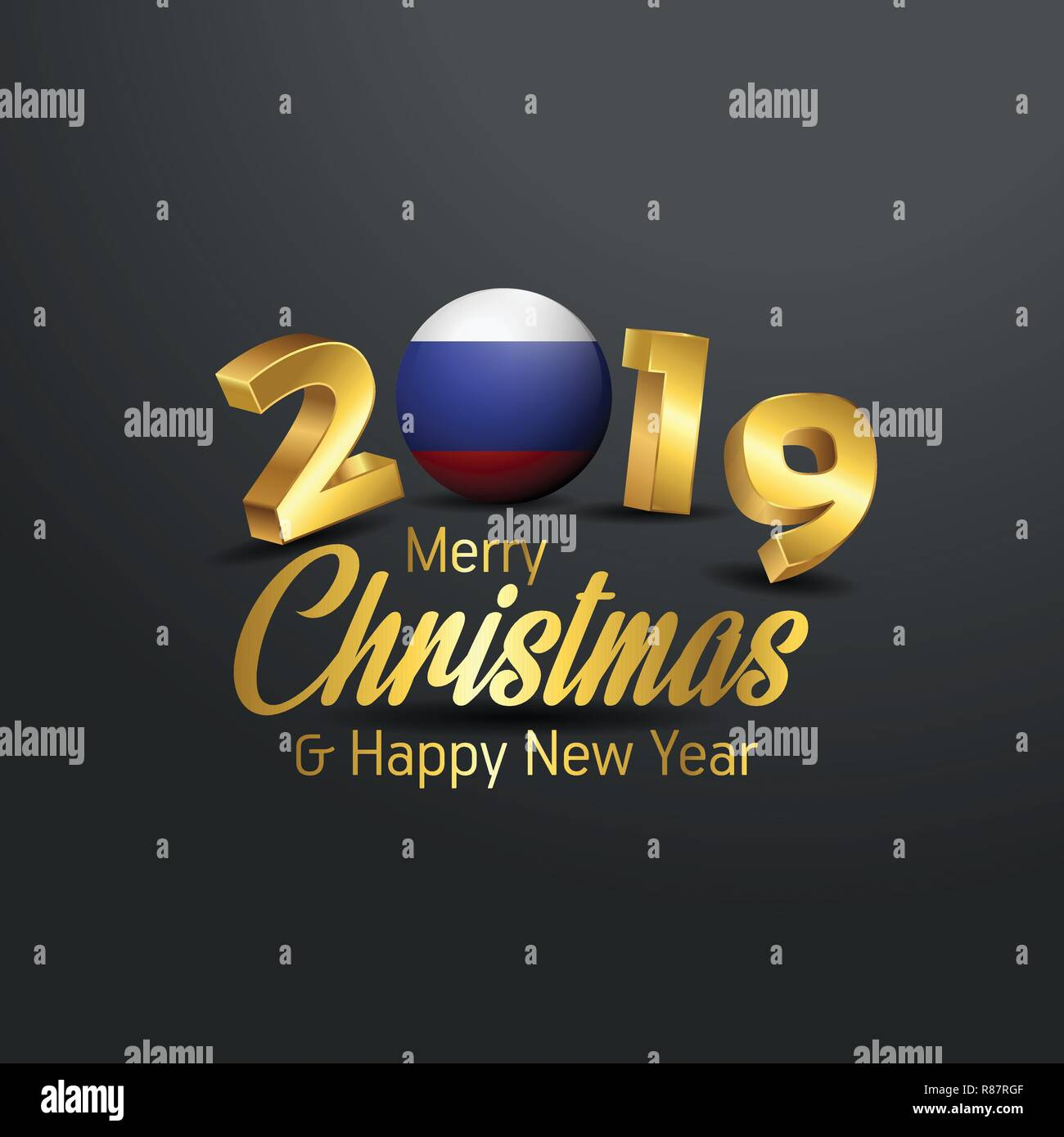 Russian Christmas 2019 Russia Flag 2019 Merry Christmas Typography. New Year Abstract