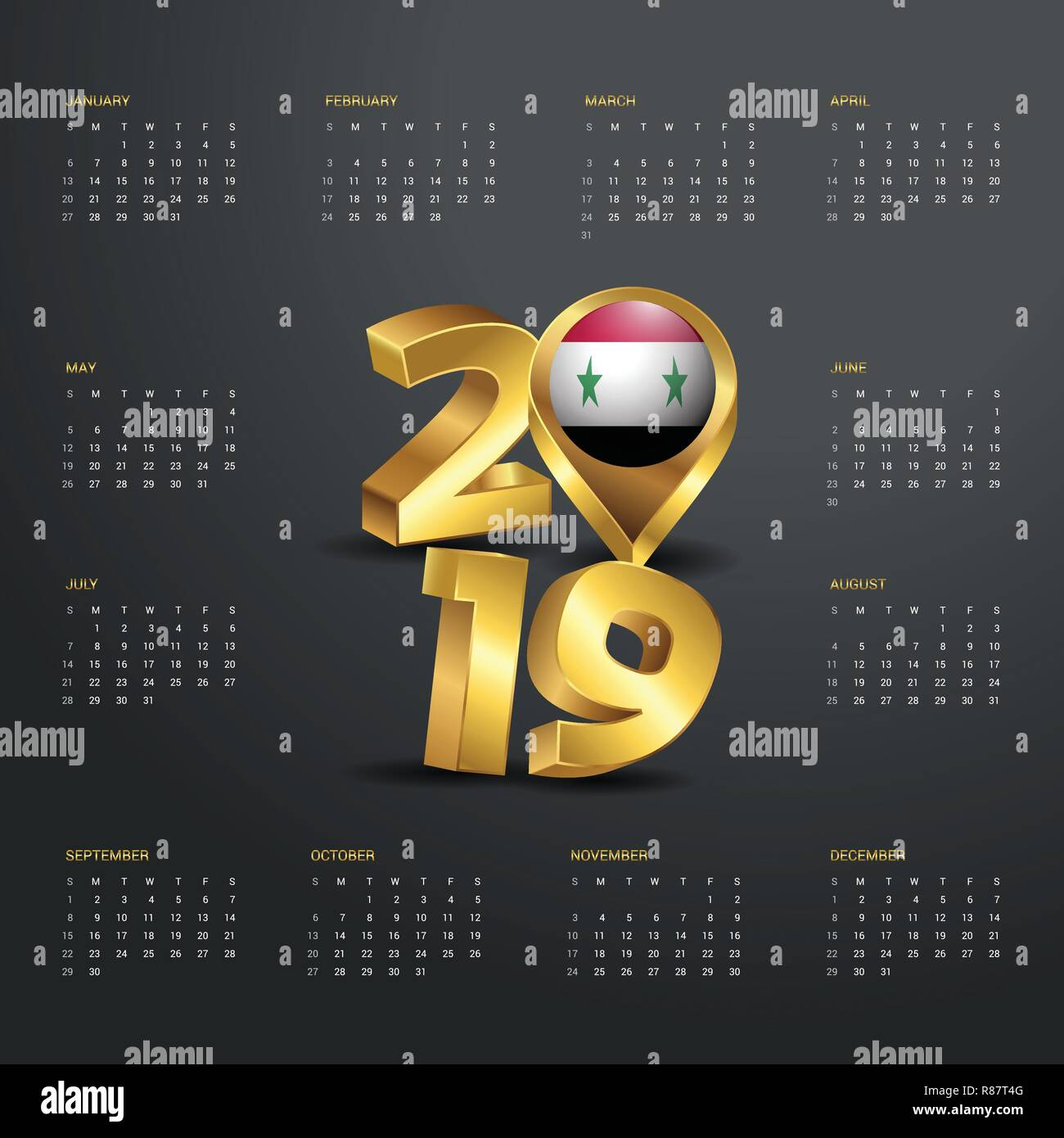 2019 Calendar Template Golden Typography With Syria Country Map Header