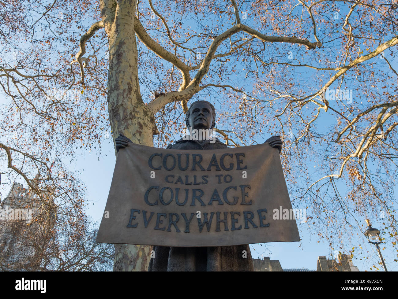 Suffragist Millicent Fawcett bronze statue by Gillian Wearing, Parliament Square, London - Stock Image
