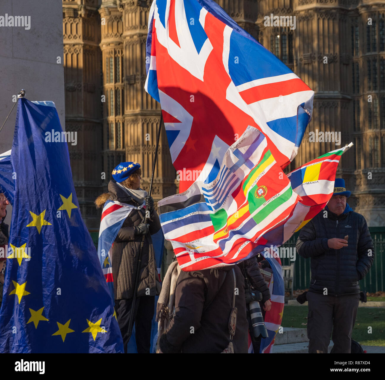 Brexit demonstration in front of George V statue opposite the Houses of Parliament, Abingdon Street, London - Stock Image