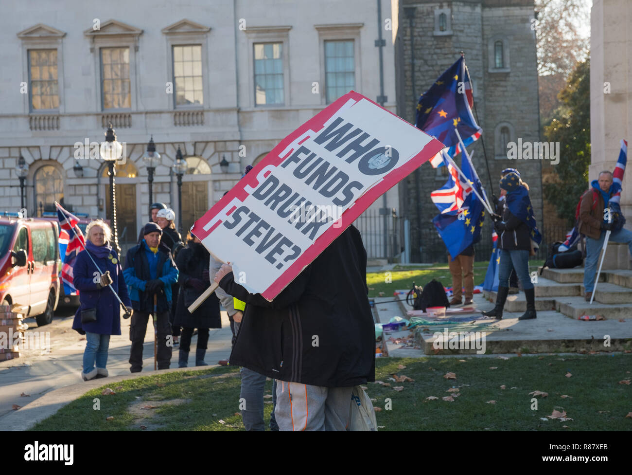 Pro-brexit campaigners with pro-remainers in front of George V statue opposite the Houses of Parliament, Abingdon Street, London - Stock Image