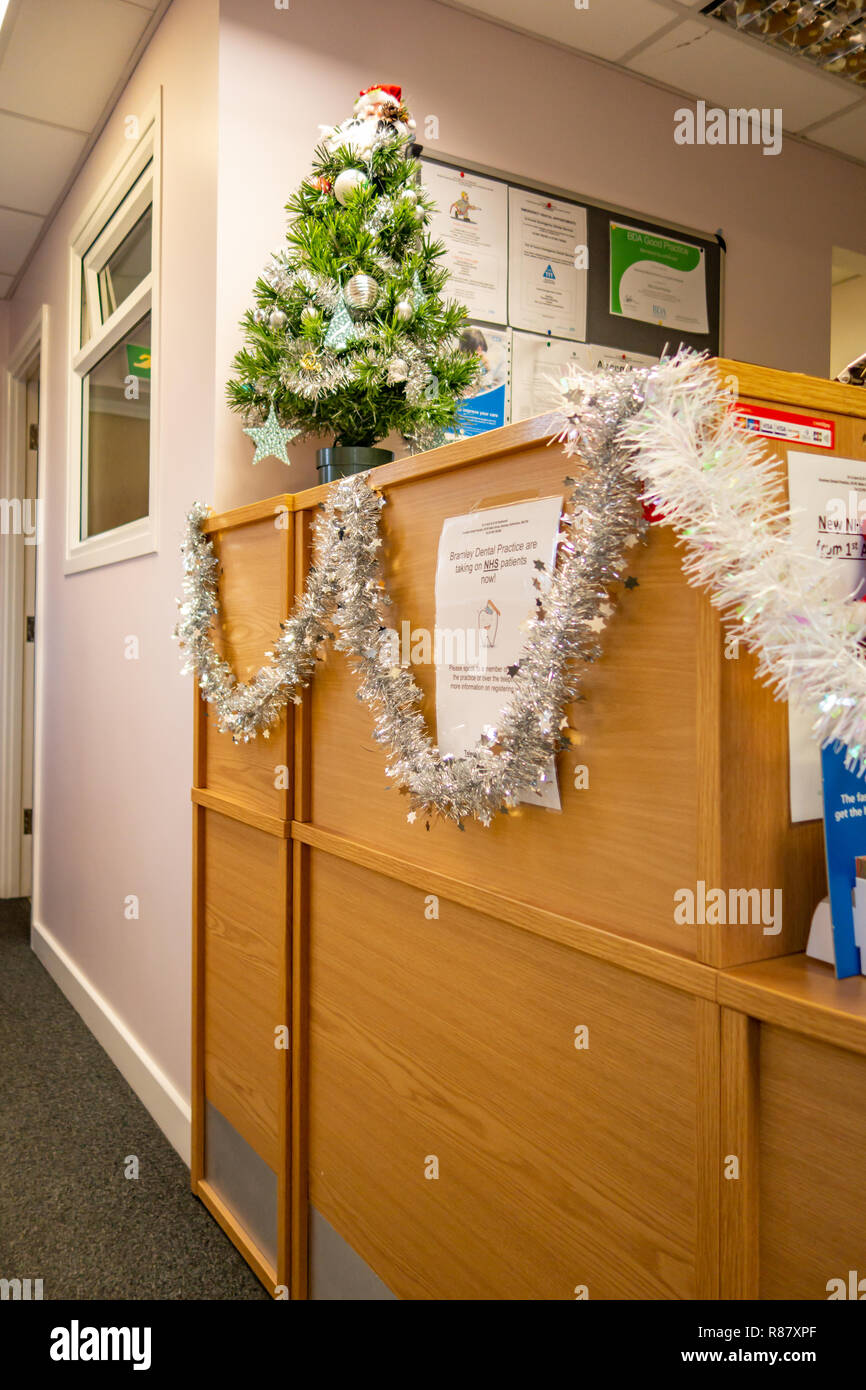 Dentist Surgery Reception Displaying Christmas Decorations