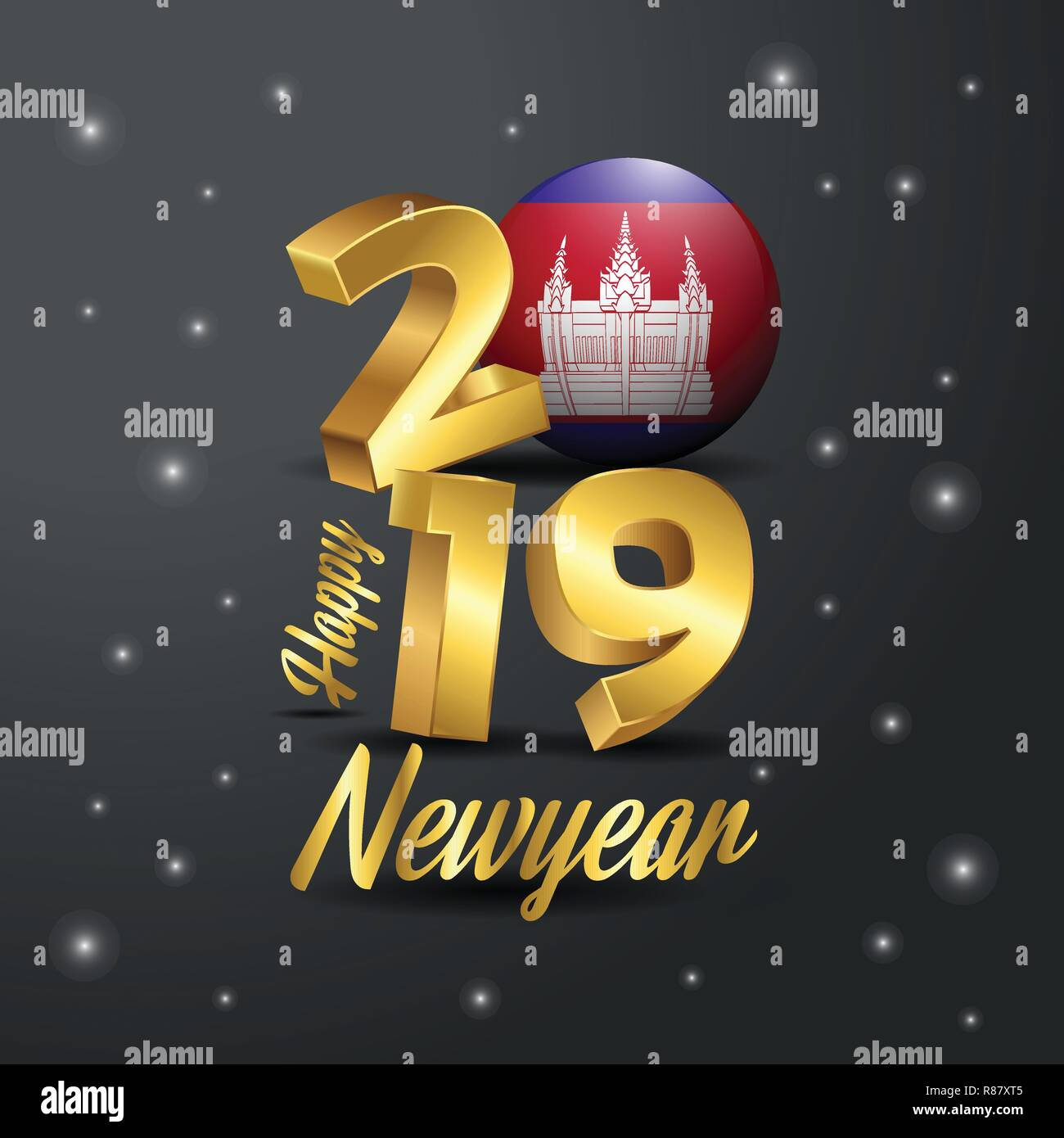 2019 Happy New Year Cambodia Flag Typography  Abstract