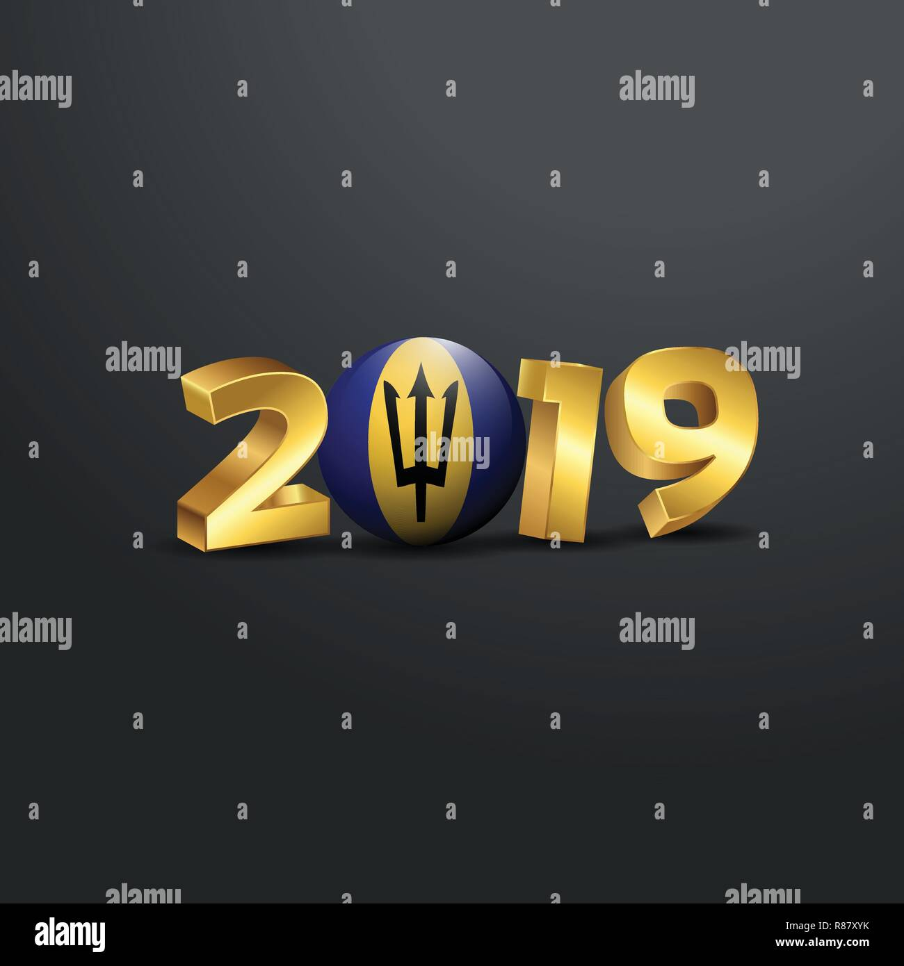 2019 Golden Typography with Barbados Flag. Happy New Year Lettering Stock Vector
