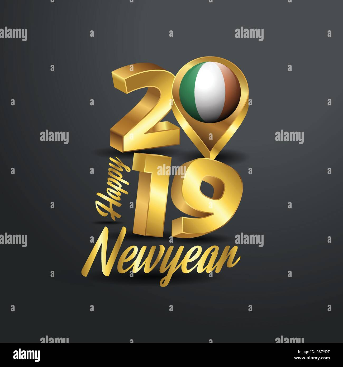 Happy New Year 2019 Golden Typography With Ireland Flag Location Pin