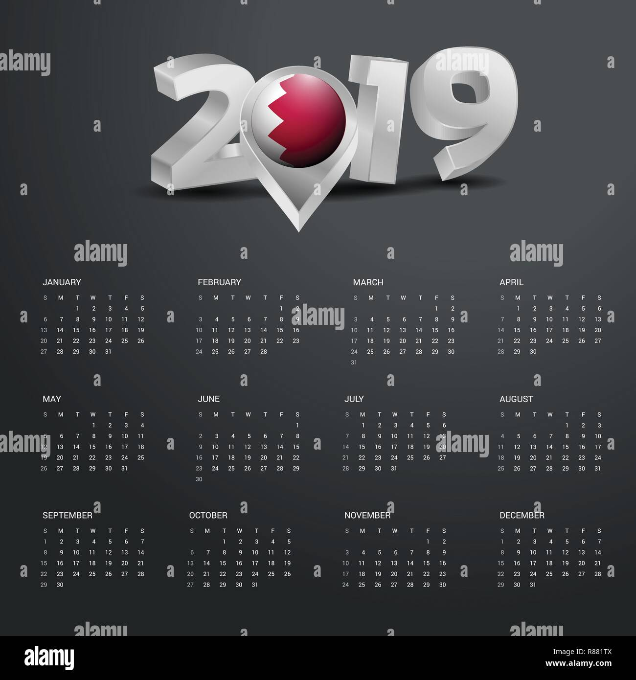 2019 Calendar Template Grey Typography With Bahrain Country Map