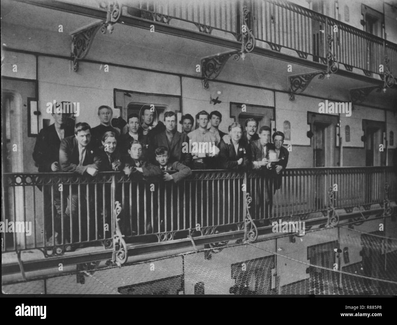 Captured Irish soldiers in Stafford Gaol after the failed 1916 Easter Uprising. - Stock Image