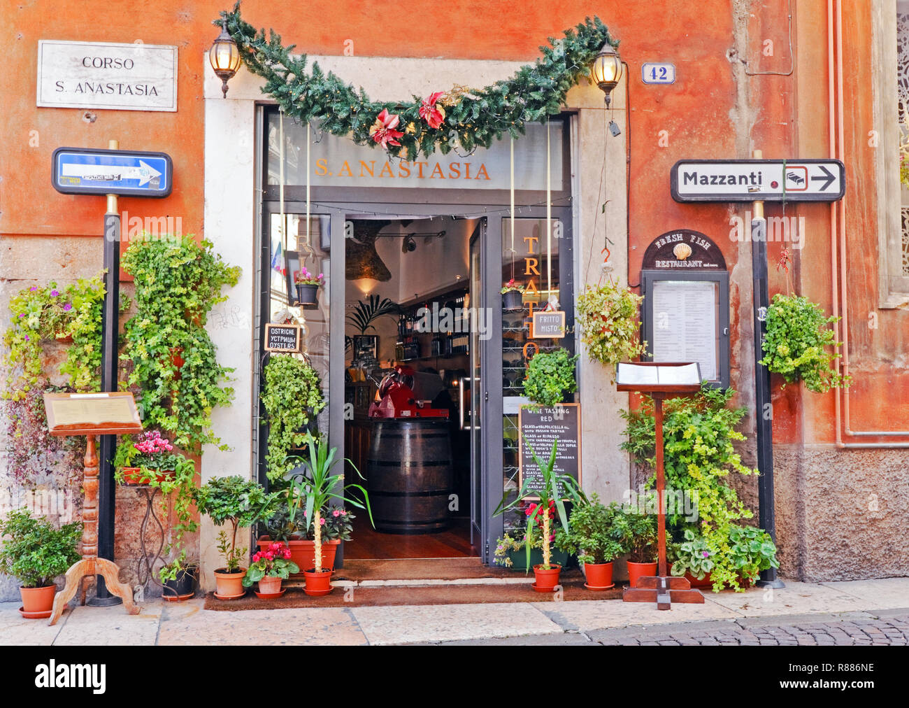 Entrance to a trattoria in Verona, Italy - Stock Image