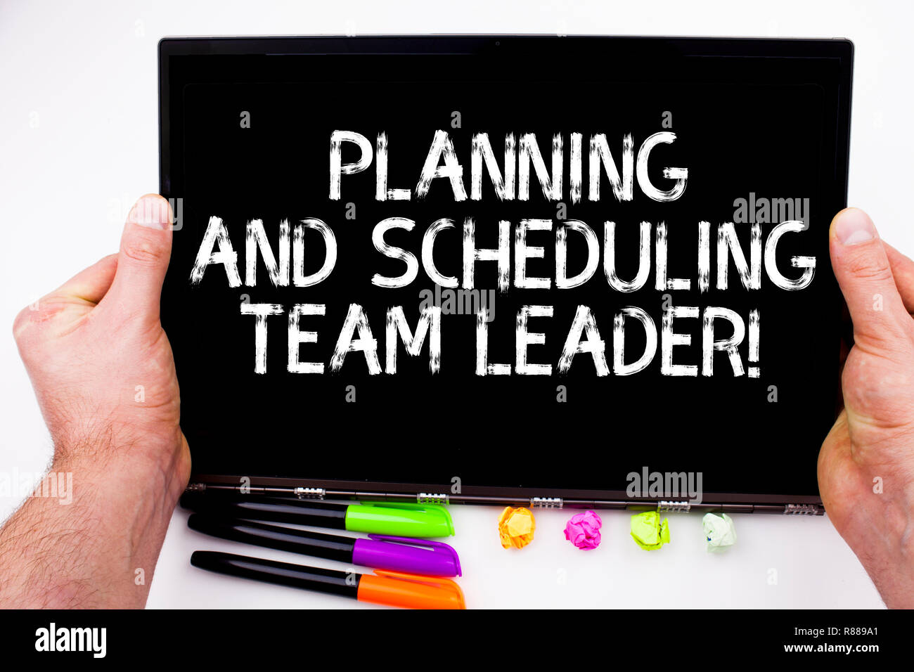 Handwriting text writing Planning And Scheduling Team Leader. Concept meaning Project analysisagement business leadership - Stock Image