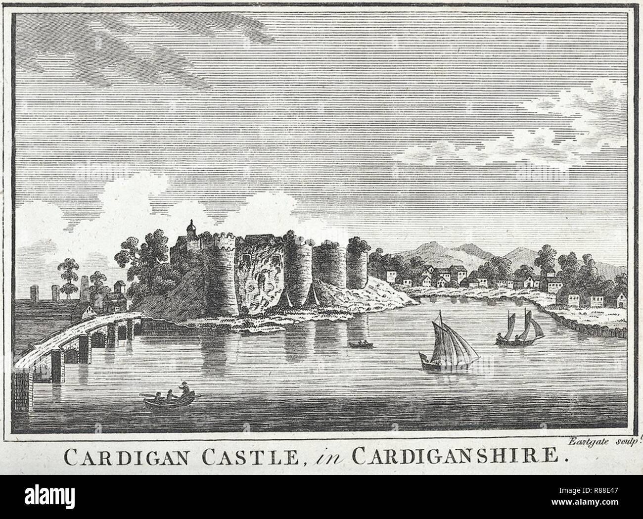 Cardigan Castle, in Cardiganshire. - Stock Image