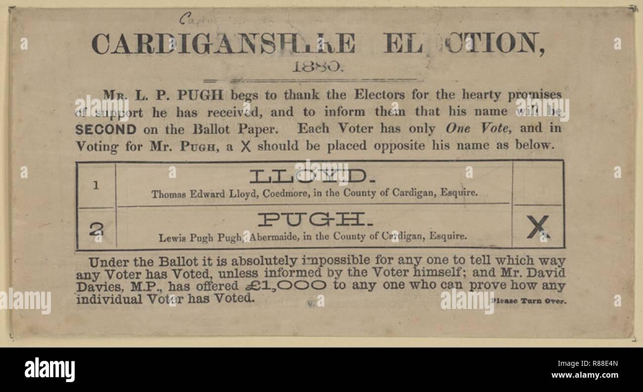 Cardiganshire Election ballot paper 1880. - Stock Image