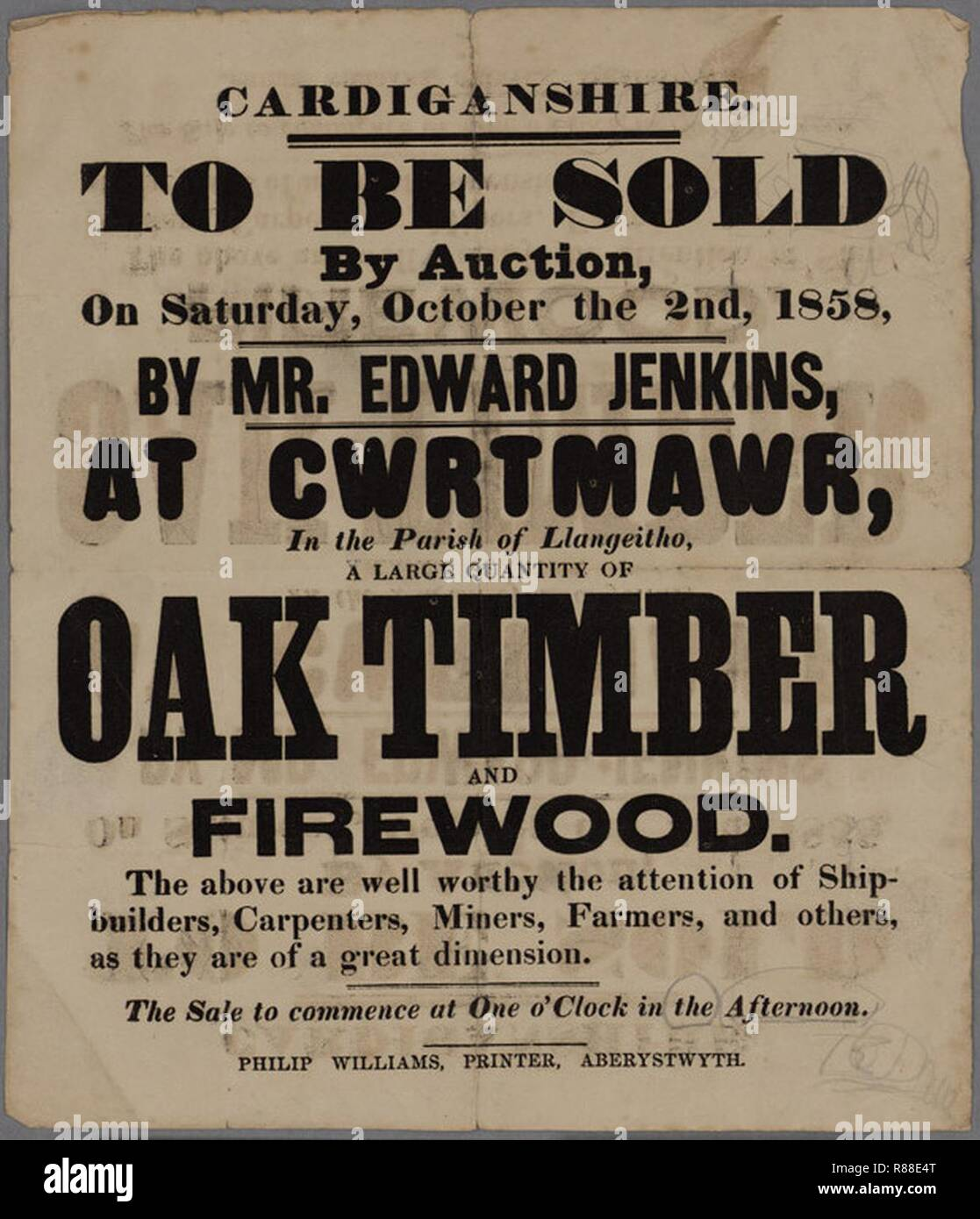 Cardiganshire To be sold by Auction Cwrtmawr 1858. - Stock Image
