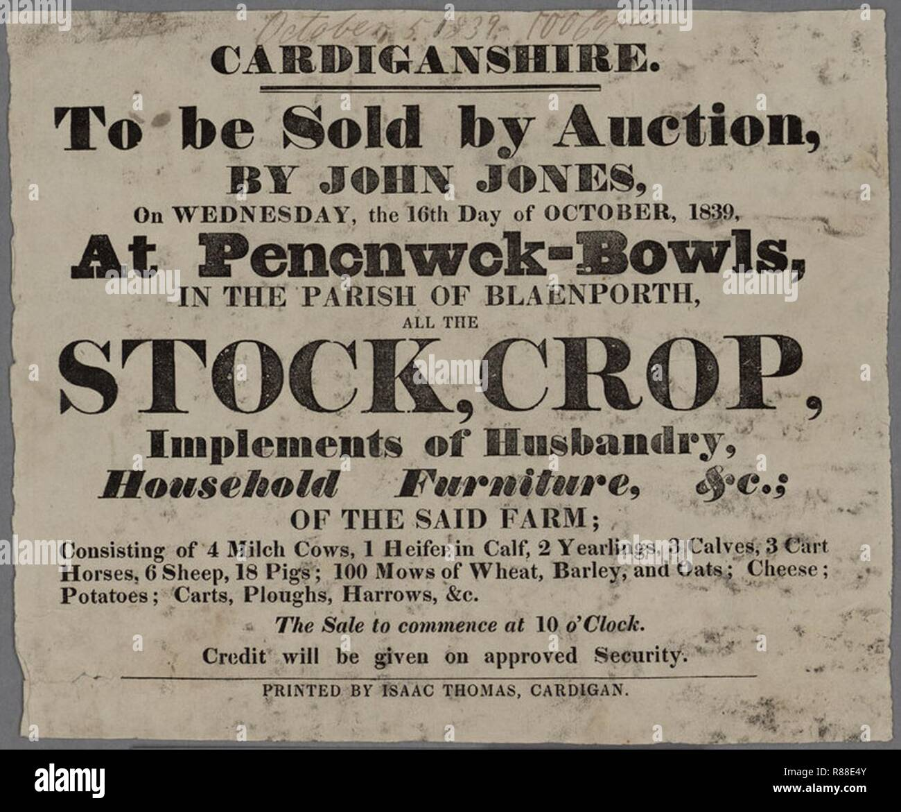 Cardiganshire To be sold by Auction Pencnwck-Bowls Crop 1839. - Stock Image