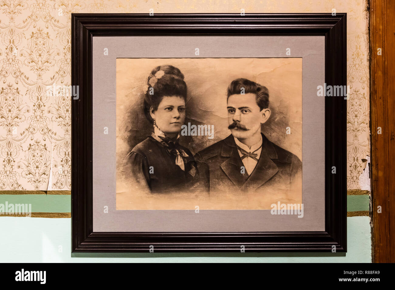 A historical photograph at the DIEGO RIVERA MUSEUM located in his childhood home - GUANAJUATO, MEXICO - Stock Image